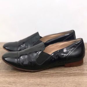 Elizabeth and James Black Patent Cort Loafer Flats